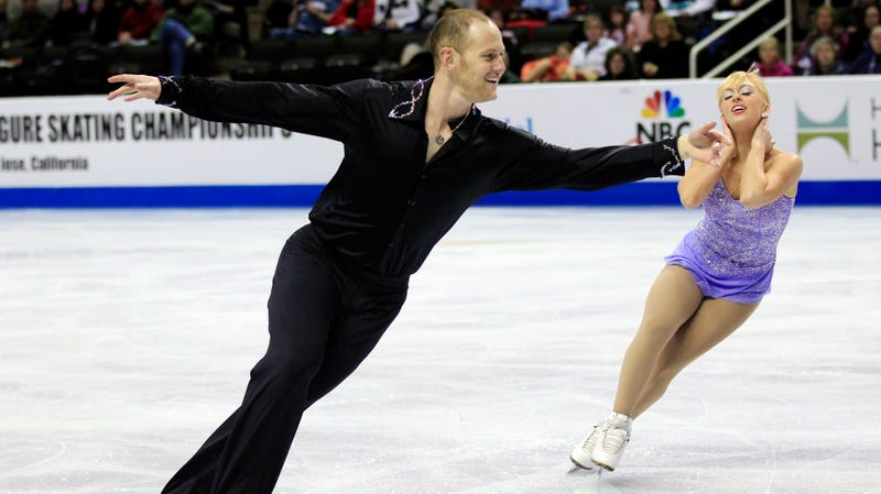 John Coughlin, left, and Caydee Denney competing in 2012 in the pairs short program at the U.S. Figure Skating Championships in San Jose, Calif.