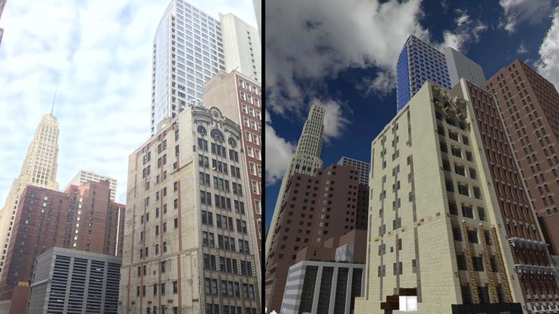 Illustration for article titled Un grupo de jugadores de Minecraft está recreando Chicago palmo a palmo, y el resultado es espectacular