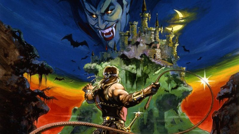 From the box art of the original Castlevania. (Art: Castlevania Wiki) From the box art of the original Castlevania. (Art: Castlevania Wiki)