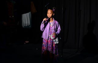 Quvenzhané Wallis during a press conference at the 2013 MTV Movie Awards in Los Angeles, April 14, 2013FREDERIC J. BROWN/AFP/Getty Images