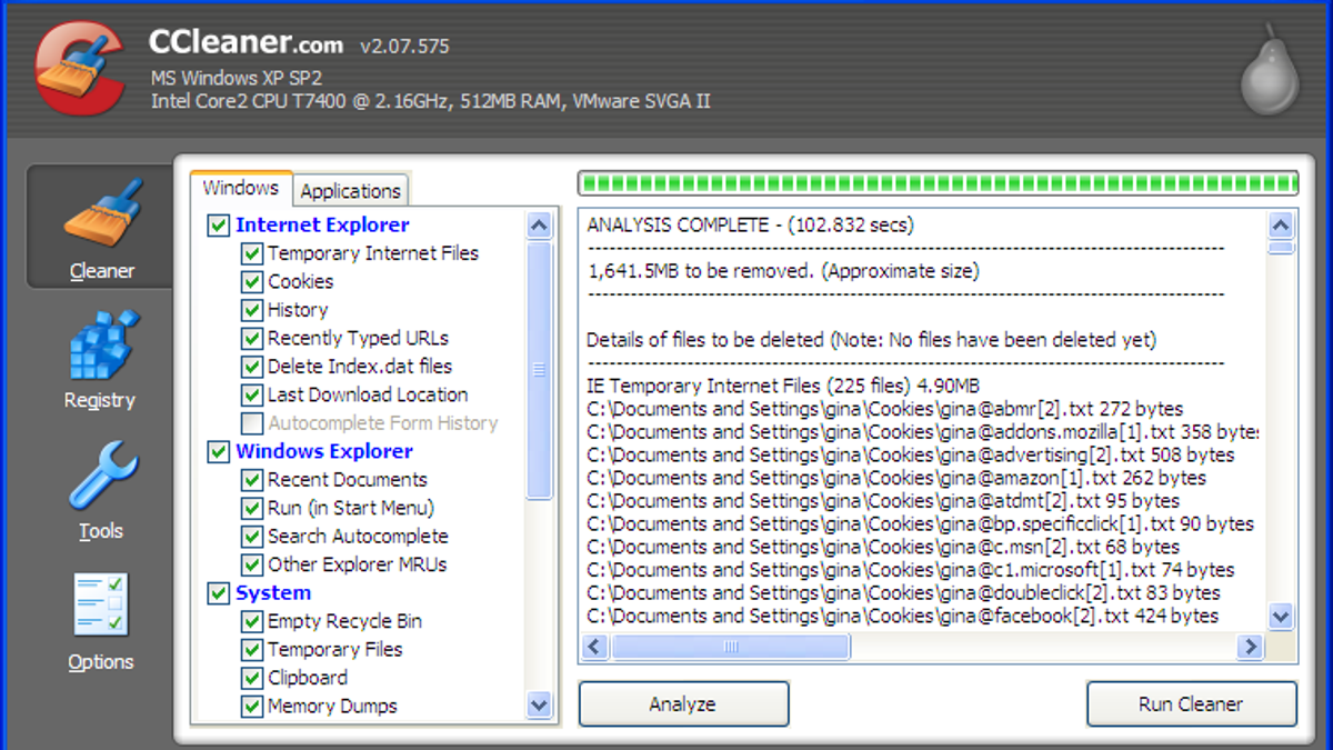 ccleaner windows xp