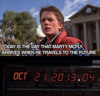 Illustration for article titled Today is the day Marty travels to in BTTF...Actually it's not
