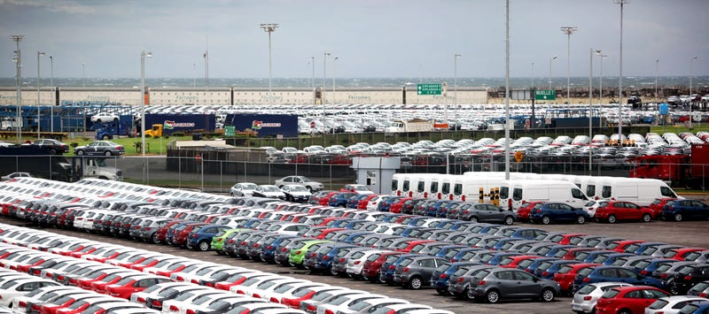 Cars built in Mexico await export. Photo credit AP