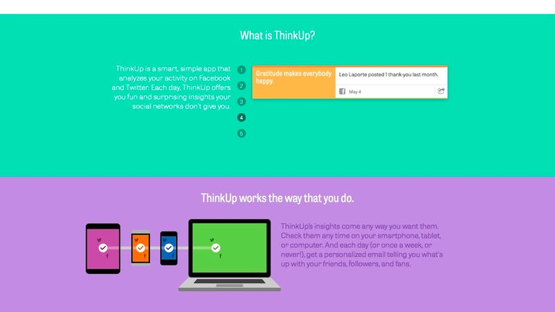 Illustration for article titled ThinkUp Analyzes Your Social Life, Highlights Your Best Moments