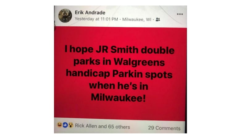 Illustration for article titled Lawsuit: Milwaukee Officer At Sterling Brown Arrest Joked About It On Facebook, Hoped To Do The Same To J.R. Smith