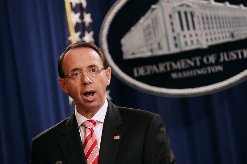 U.S. Deputy Attorney General Rod Rosenstein holds a news conference at the Department of Justice July 13, 2018, in Washington, D.C.