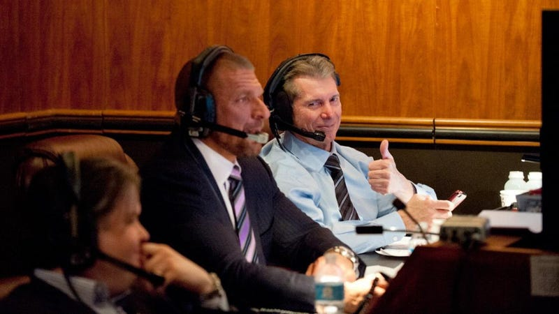"""Vince McMahon producing a show with son-in-law and lieutenant Paul """"Triple H"""" Levesque."""
