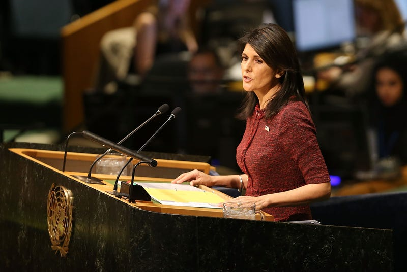 Nikki Haley speaks on the floor of the General Assembly on Dec. 21, 2017, in New York City. (Spencer Platt/Getty Images)