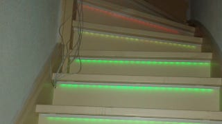 Accent your stairs with cheap led strips and an arduino way to spice up your boring staircase diyer geert shows off a simple way to safely light up your stairwell with programmable color changing led strips mozeypictures Gallery