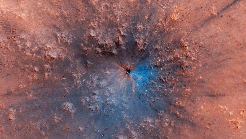 The new crater discovered by the Mars Reconnaissance Orbiter.