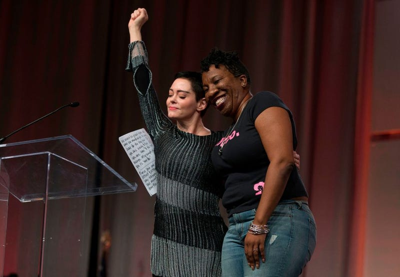Rose McGowan with activist and #MeToo founder Tarana Burke (Photo: Rena Laverty/AFP/Getty Images)