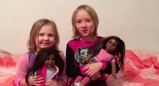 Katie Nachman's daughters with their dollsVideo screenshot