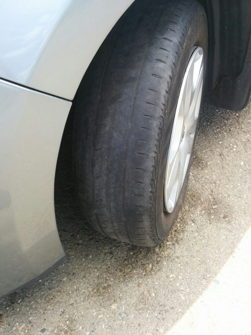 Illustration for article titled I bought a car today and here's the front tire: