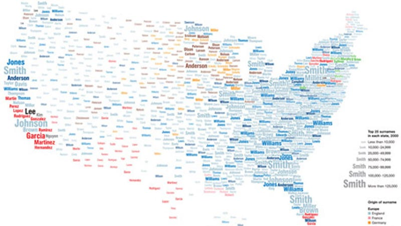 Illustration for article titled Is Your Last Name Popular Enough to Be on the Map?