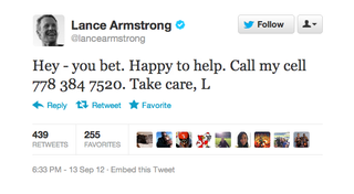 Illustration for article titled Why Did Lance Armstrong Tweet Out The Cell Phone Number Of Some Random Canadian Dude?