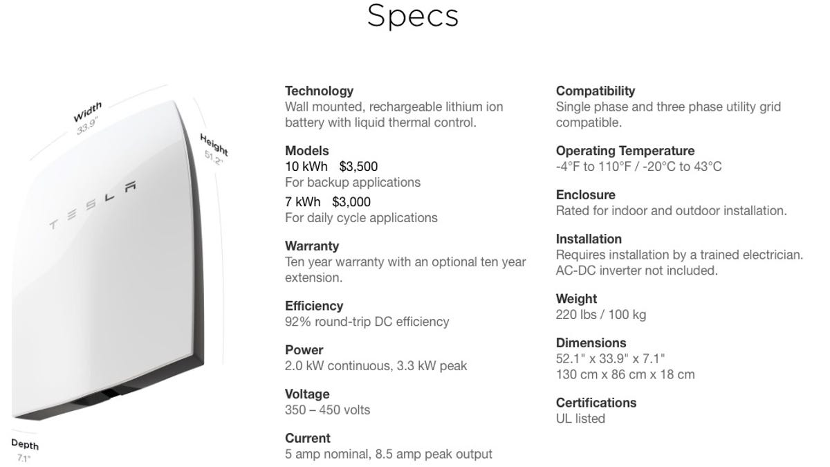 Tesla Powerwall Cost >> How Tesla S Powerwall Stacks Up To Conventional Energy By The Numbers