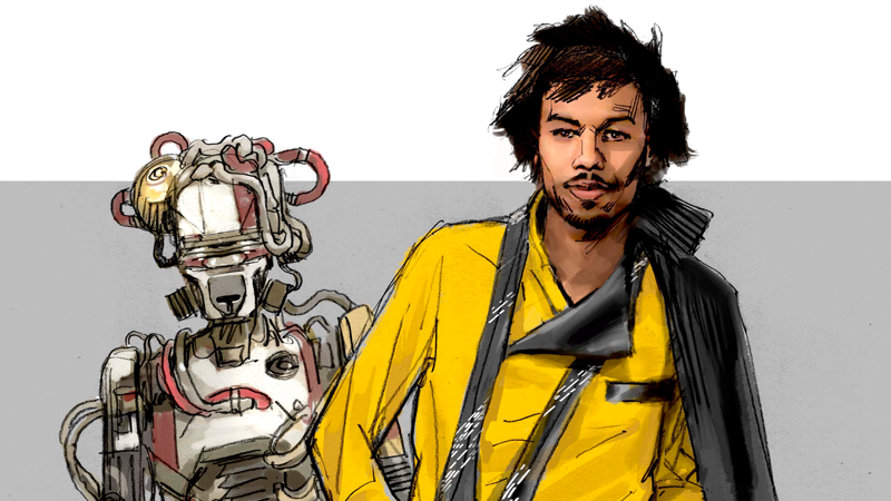 A variant of Lando's final design as well as a very different L3-37 in concept art from The Art of Solo: A Star Wars Story.