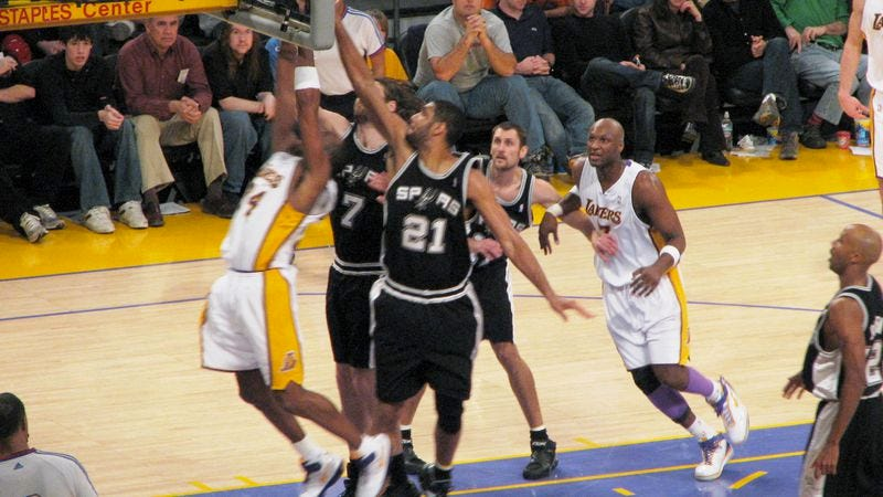 We are aware this is a photo of the Spurs playing the Lakers. But do you know how hard it is to find a rights-free shot of a sports game?