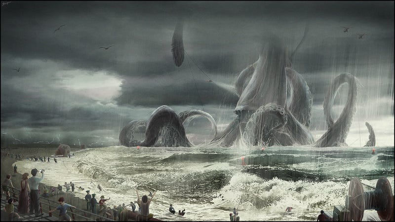 Illustration for article titled Giant squid waits for no man