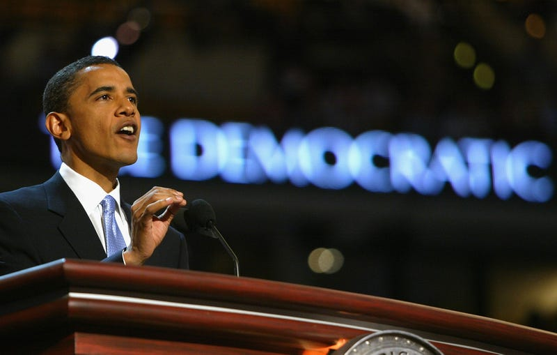 Then-Senate candidate Barack Obama delivers the keynote address to delegates on the floor of the Fleet Center at the Democratic National Convention in Boston on July 27, 2004. Spencer Platt/Getty Images