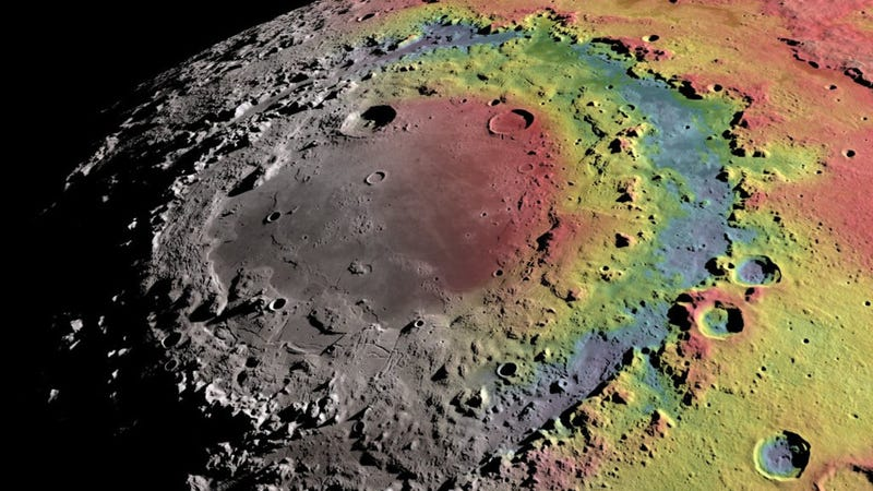 Topographic map of the Orientale impact basin on the Moon.