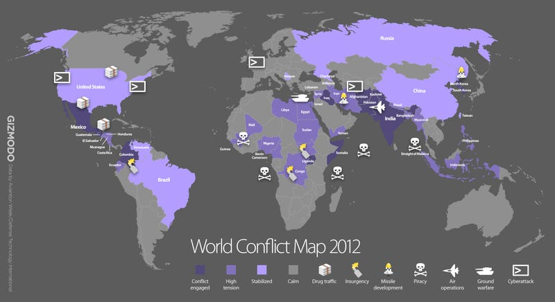 world map of all wars and conflicts happening in 2012