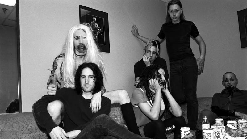 Berkowitz, standing, with the rest of Marilyn Manson and Trent Reznor in 1995 (Catherine McGann/Getty Images)