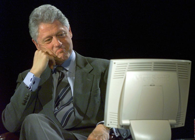 """President Clinton at an """"On Line"""" Town Hall Meeting in 1999 (Paul J. Richards/AFP/Getty Images)"""