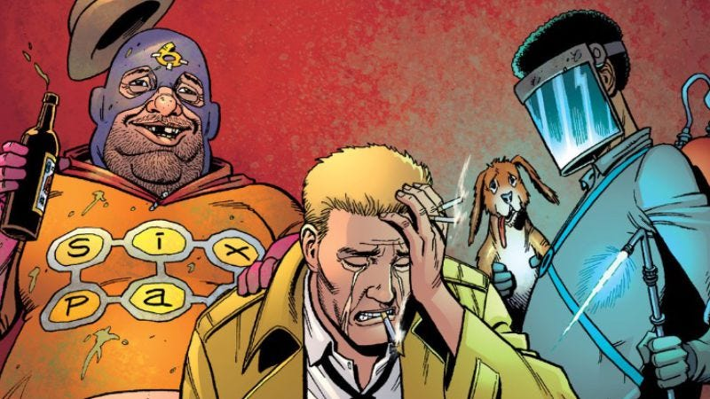 Illustration for article titled Ennis and Constantine reunite to poke fun at DC in Sixpack And Dogwelder #2