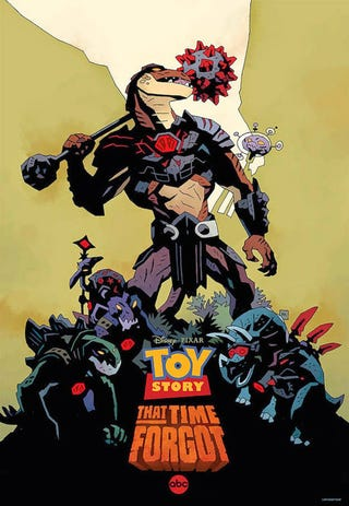 Illustration for article titled Mike Mignola Illustrates 'Toy Story That Time Forgot' Poster