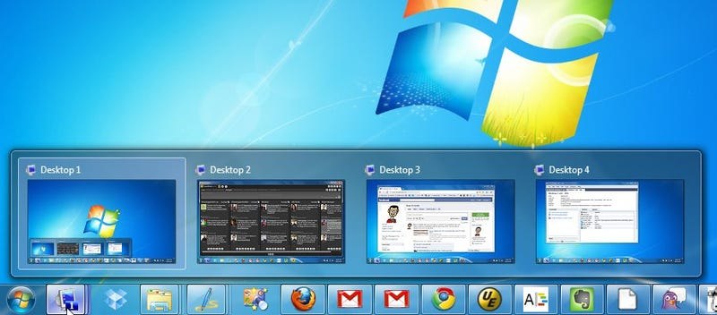 Illustration for article titled Dexpot Adds Aero Peek Virtual Desktops to the Windows 7 Taskbar