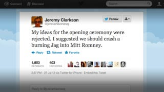 Illustration for article titled Jeremy Clarkson Wants To Crash A 'Burning Jag Into Mitt Romney'