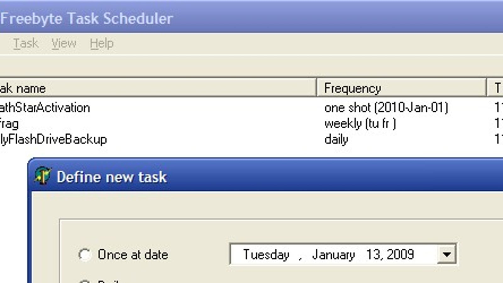 Freebyte Task Scheduler is a Portable Replacement for