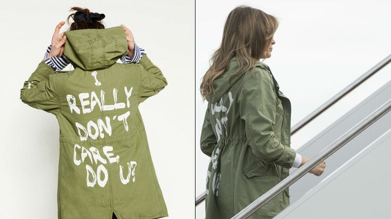 Illustration for article titled Melania Wears 'I REALLY DON'T CARE, DO U?' Jacket on Way to Meet Detained Migrant Children