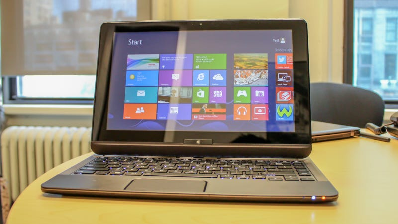 Illustration for article titled Toshiba Windows 8 Hybrid Laptop Hands On: Better Than You'd Think
