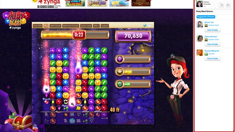 Illustration for article titled Zynga's Next Arcade Game is a Riff on Bejeweled's Brilliant Diamond Mine