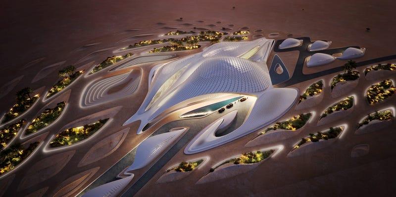 Illustration for article titled New building in the Arabian desert looks like an alien spaceship fleet