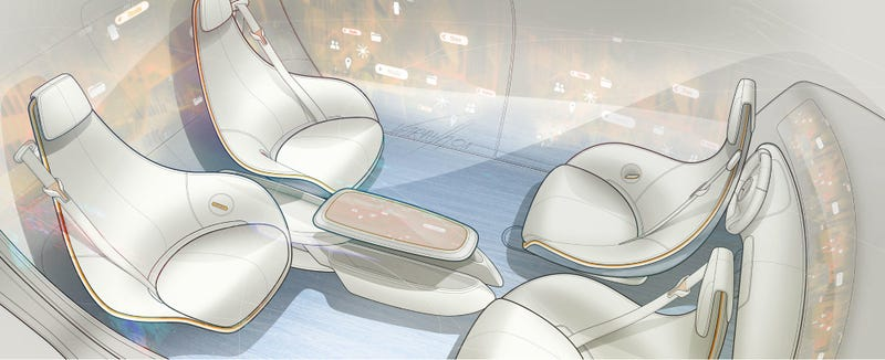 Illustration for article titled Mercedes' 'Interior Of The Future' Will Have A Coffee Table