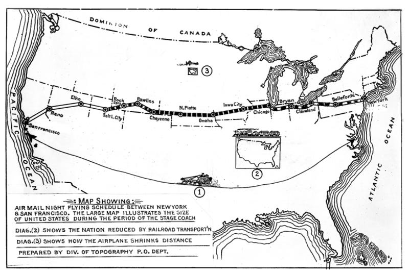 The Highway Of Light That Guided Early Planes Across America - Mapping plane highway and train traffic us