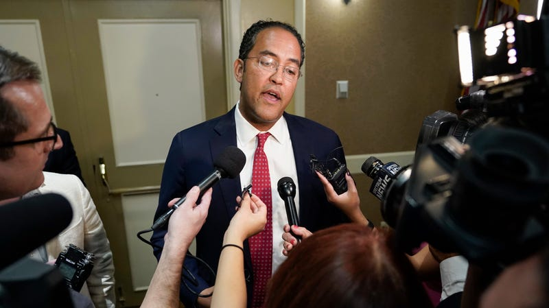 U.S. Rep. Will Hurd, R-Texas, speaks with members of the press during his election night victory party, Tuesday, Nov. 6, 2018, in San Antonio.
