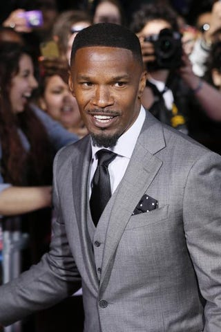 Jamie Foxx arrives for the French premiere of The Amazing Spider-Manin Paris on April 11, 2014.PATRICK KOVARIK/AFP/Getty Images