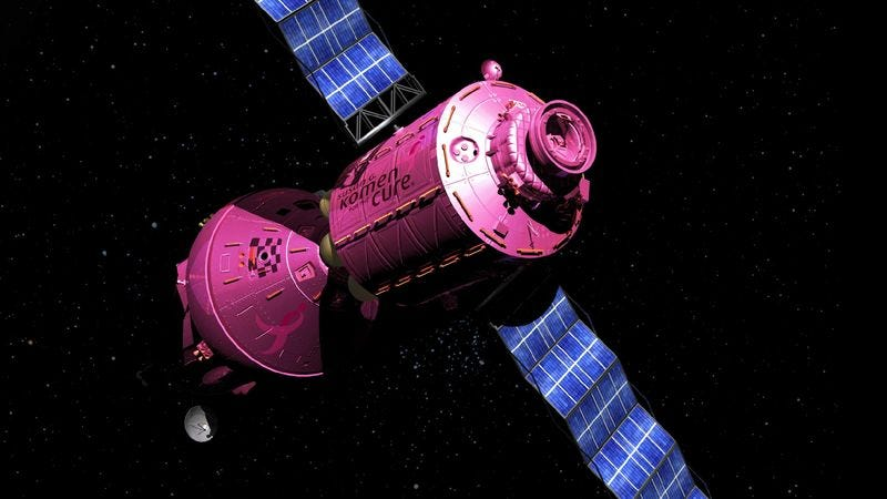 "A data uplink with Susan G. Komen mission control will allow the probe to broadcast the latest recordings of the foundation's ""Pink Warrior"" theme song as it traverses the Milky Way."