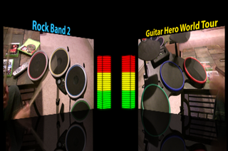Illustration for article titled Which Drums Are Louder: Rock Band 2 or Guitar Hero World Tour