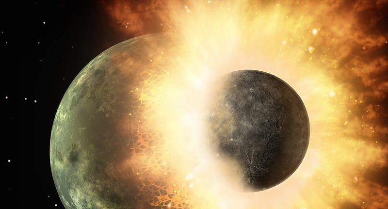 Illustration for article titled Tea existió: la Tierra chocó con un planeta gemelo para formar la Luna