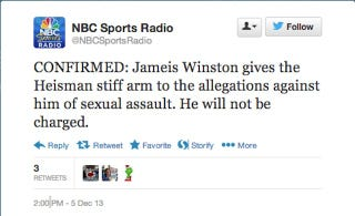 Illustration for article titled How Not To Tweet About Today's Jameis Winston News