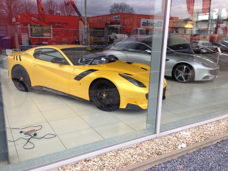 yellow ferrari f12 tdf at my local dealer