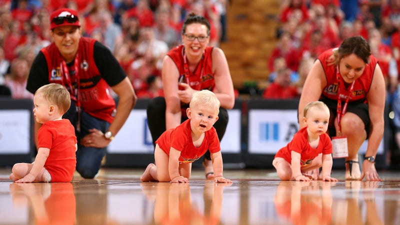 Babies in the Wildcub Baby Race, Perth, Australia. Photo via Getty Images.