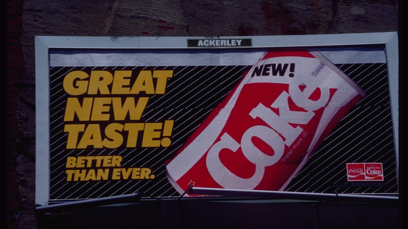 A billboard for the short-lived New Coke in 1985