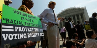 Voting Rights Act supporters at the Supreme Court (Win McNamee/Getty Images)