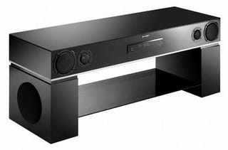 sharp unveils awesome tv stand sound system combo. Black Bedroom Furniture Sets. Home Design Ideas